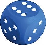 Dobbelsteen blauw met stippen 10 cm