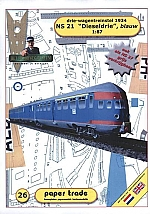 NS 21 Dieseldrie blauw drie-wagentreinstel 1934 1:87