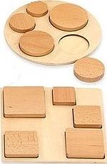 Set van 12 beukenhouten puzzels