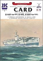 Card vliegdekschip en 3 duitse U-boten 1:400