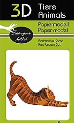 Kat roodbruin - 3D karton model