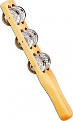 Houten jingle stick met schellen