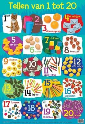 Educatieve poster - Van 1 tot 20 | vanaf 4 jaar