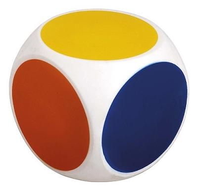 Dobbelsteen met kleuren 10 cm