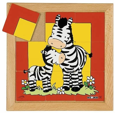 Dierenpuzzels 'moeder en kind'   Zebra